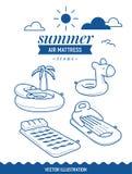 Ícone inflável do colchão de ar Ícone do esboço do verão ajustado com nuvens Palmeira, ilha e colchão simples retro básico ilustração royalty free