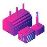 Ícone inteligente da fábrica, estilo isométrico ilustração stock