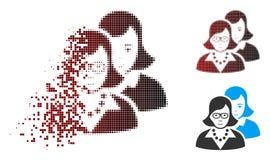 Ícone inteligente de intervalo mínimo de desaparecimento das mulheres do pixel ilustração do vetor