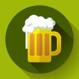 Ícone irlandês do vetor do símbolo do dia do St Patricks da cerveja de gengibre Estilo projetado liso Fotografia de Stock Royalty Free