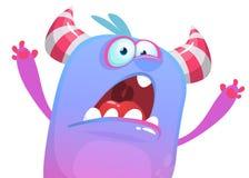 Ícone irritado do monstro dos desenhos animados que tenta ao susto Vector a ilustração de Halloween ilustração stock