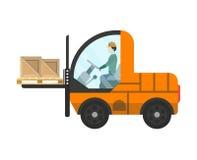 Ícone isolado do caminhão de empilhadeira do armazém da carga Fotografia de Stock Royalty Free