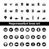 Ícone isolado do preto do supermercado ajustado no fundo branco ilustração do vetor