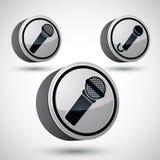 Ícone isolado, elemento do microfone do projeto do vetor do tema da música 3d Imagem de Stock