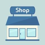 Ícone isolado loja Construção de loja moderna Fotos de Stock Royalty Free