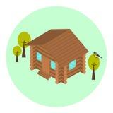 Ícone isométrico da casa do log de madeira Imagem de Stock Royalty Free