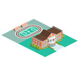 Ícone isométrico da construção da escola ou da universidade do vetor Imagens de Stock Royalty Free