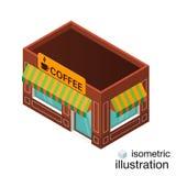 Ícone isométrico da construção do café do vetor Fotos de Stock Royalty Free