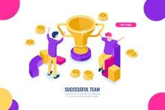 Ícone isométrico da equipe do sucesso, soluções do negócio, celebração de vitória, executivos felizes dos desenhos animados horiz ilustração do vetor