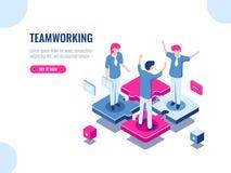 Ícone isométrico do sucesso dos trabalhos de equipe, solução do negócio do enigma, trabalhando junto, associação dos povos, parti ilustração royalty free
