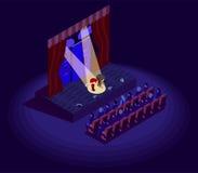 Ícone isométrico do teatro ilustração do vetor