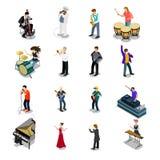Ícone isométrico liso do vetor dos músicos 3d mantem distraído Imagens de Stock Royalty Free