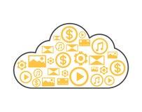 Ícone linear do estilo do armazenamento da nuvem Foto de Stock