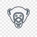 Ícone linear do vetor do conceito do chimpanzé isolado em vagabundos transparentes ilustração royalty free