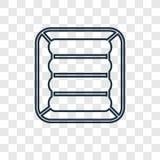 Ícone linear do vetor do conceito do colchão de ar isolado em transparente ilustração stock