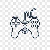 Ícone linear do vetor do conceito do controlador do jogo no transpare ilustração stock