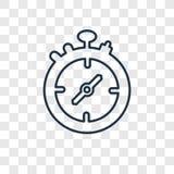 Ícone linear do vetor do conceito do cronômetro isolado no CCB transparente ilustração royalty free