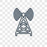 Ícone linear do vetor do conceito da antena no backg transparente ilustração stock