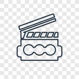 Ícone linear do vetor do conceito de Clapperboard isolado em transparente ilustração stock