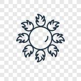 Ícone linear do vetor do conceito de Sun isolado no backgroun transparente ilustração stock