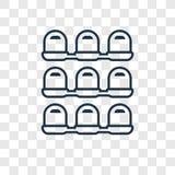 Ícone linear do vetor do conceito dos assentos isolado no backgro transparente ilustração stock