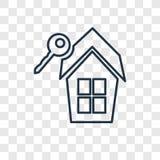 Ícone linear do vetor do conceito dos bens imobiliários isolado em b transparente ilustração royalty free