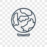 Ícone linear do vetor do conceito do globo da terra em b transparente ilustração do vetor