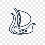 Ícone linear do vetor do conceito do navio de Viking isolado em b transparente ilustração stock