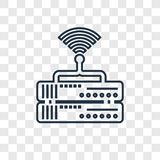 Ícone linear do vetor do conceito do router no backgr transparente ilustração royalty free