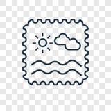 Ícone linear do vetor do conceito do selo isolado no backgro transparente ilustração royalty free