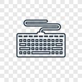 Ícone linear do vetor do conceito do teclado isolado na parte traseira transparente ilustração royalty free