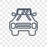 Ícone linear do vetor do conceito do veículo militar isolado em transpar ilustração stock