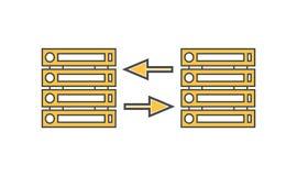 Ícone linear do vetor da rede do servidor de computador Imagens de Stock Royalty Free