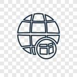 Ícone linear do vetor mundial do conceito isolado no CCB transparente ilustração stock