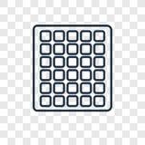 Ícone linear do vetor quadrado do conceito da grade isolado em b transparente ilustração stock