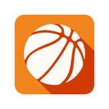Ícone liso com a bola do basquetebol do símbolo Fotografia de Stock