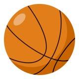 Ícone liso da bola do basquetebol isolado no branco Foto de Stock