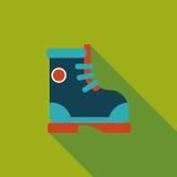 Ícone liso da bota com sombra longa Imagens de Stock