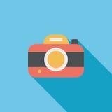 Ícone liso da câmera com sombra longa Imagem de Stock