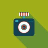 Ícone liso da câmera com sombra longa Fotografia de Stock