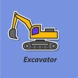 Ícone liso da cor da máquina escavadora Foto de Stock Royalty Free