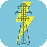 Ícone liso da eletricidade ilustração stock