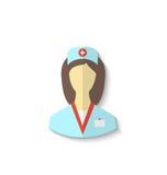 Ícone liso da enfermeira médica com a sombra isolada no backgro branco Imagens de Stock Royalty Free