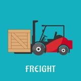 Ícone liso da entrega do frete com caminhão de empilhadeira Imagem de Stock