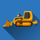 Ícone liso da escavadora do carregador ilustração stock