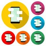 Ícone liso da mensagem e do bate-papo do conceito de projeto ou logotipo, grupo de cor com sombra longa ilustração do vetor