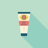 Ícone liso da proteção solar com sombra longa Imagem de Stock