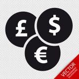 Ícone liso das moedas diferentes - ilustração do vetor - isolado no fundo transparente Fotos de Stock Royalty Free