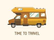 Ícone liso de acampamento do estilo do caminhão do viajante da família do reboque Foto de Stock Royalty Free