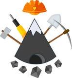 Ícone liso de mineração Imagem de Stock Royalty Free